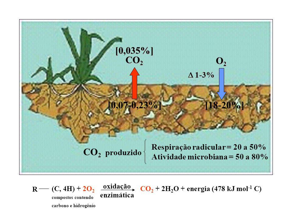 O2 [18-20%] [0,035%] CO2 [0,07-0,23%] CO2 produzido  1-3%